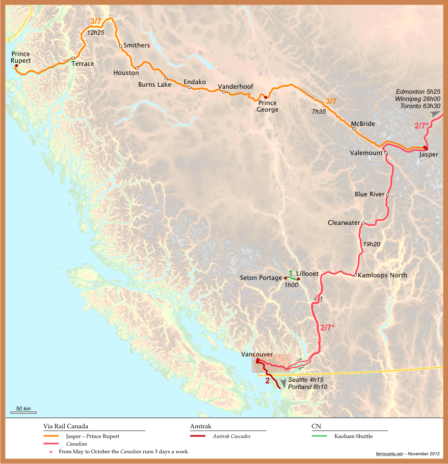 Railway Maps Of Canada British Columbia - British columbia map