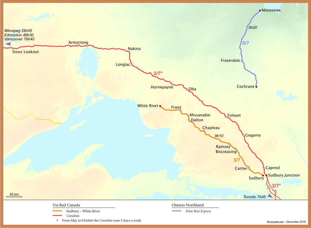 Railway Maps of Canada | Northern Ontario on