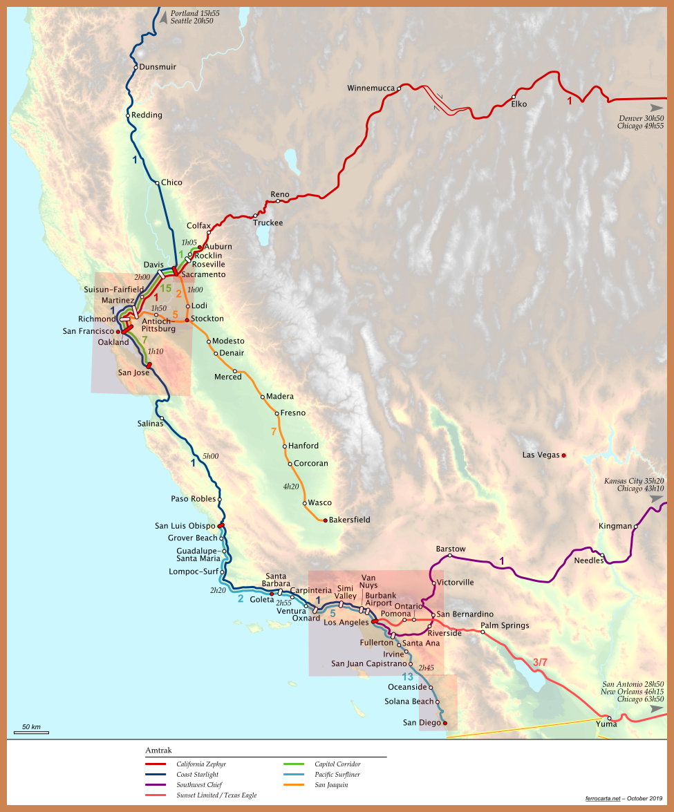 Railway Maps of the United States | California and Nevada