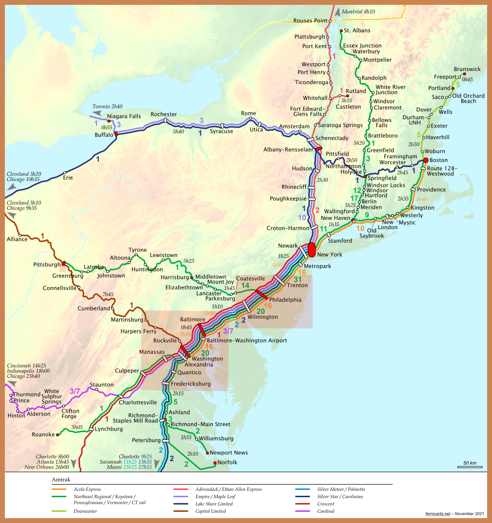 Railway Maps of the United States | Northeast