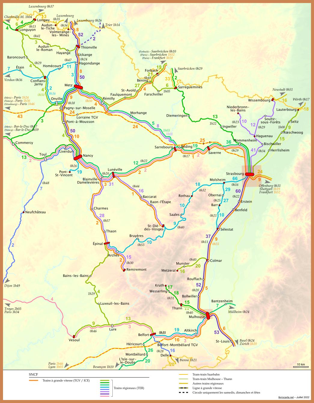 Carte Ferroviaire Alsace.Cartes Ferroviaires De La France Alsace Et Lorraine