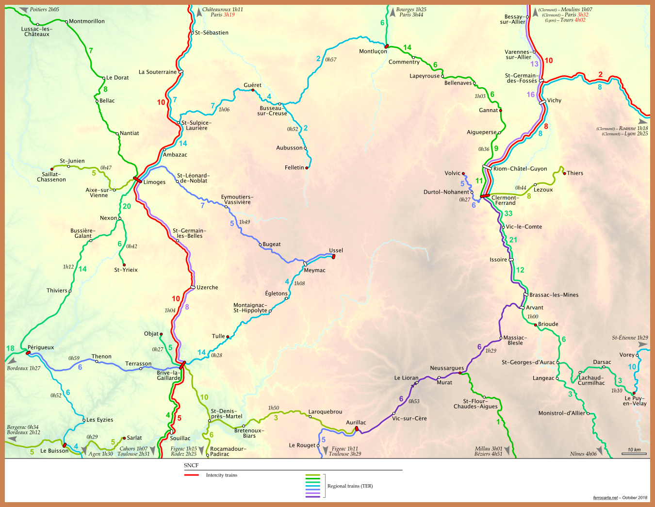 Railway Maps of France Auvergne and Limousin