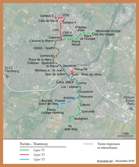 Cartes ferroviaires de la France | Caen
