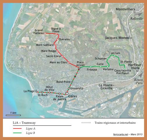 Cartes ferroviaires de la France | Le Havre