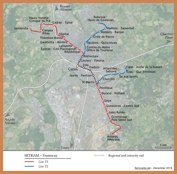 Railway Maps of France Le Mans